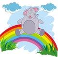 Happy cartoon elephant on a rainbow on a white background