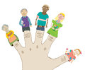Happy cartoon family dolls on fingers illustration Stock Photo