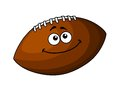 Happy cartoon football or rugby ball vector of a brown leather isolated on white Stock Photos