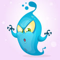 Happy cartoon ghost. Halloween vector fat and blue monster icon with claws