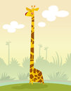 A happy cartoon giraffe standing in the grass smiling Stock Photo