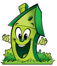 Happy cartoon green ecological home a with garden making a gesture spreading its hands Royalty Free Stock Images