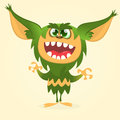 Happy cartoon gremlin monster. Halloween vector goblin or troll with green fur and big ears Royalty Free Stock Photo