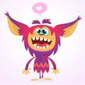 Happy cartoon gremlin monster in love. Halloween vector goblin or troll with pink fur and big ears. Isolated
