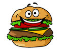 Happy cartoon hamburger with smiley face funny tasty containing ground meat tomato salad cheese pickles isolated on white Stock Photo
