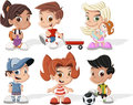 Happy cartoon kids Royalty Free Stock Photos