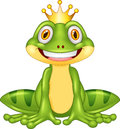 Happy cartoon king frog