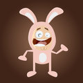 Happy cartoon man in bunny costume funny illustration of a Stock Images