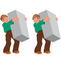Happy cartoon man standing in green shirt and brown pants holdin