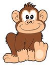 Happy cartoon monkey a smiling on white Stock Image