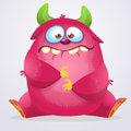Happy cartoon monster. Halloween pink furry monster. Big collection of cute monsters. Halloween character. Vector illustrations
