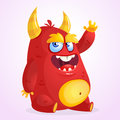 Happy cartoon monster. Halloween vector horned fat monster sitting and waving. .