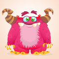 Happy cartoon monster. Halloween vector horned monster smiling. .
