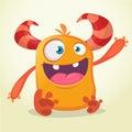 Happy cartoon monster. Halloween vector orange and horned monster