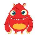 Happy cartoon monster. Vector Halloween red furry monster.