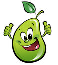 Happy cartoon pear making an ok gesture smiling with both hands Stock Photo