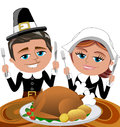Happy cartoon pilgrims eating roast turkey illustration featuring bob and meg sitting at table ready to eat with knife and fork Stock Images