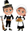 Happy cartoon pilgrims with rifle and roast turkey illustration featuring bob meg bob holding a meg holding tray tomatoes potatoes Royalty Free Stock Image