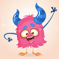 Happy cartoon pink monster. Vector Halloween horned character waving
