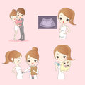 Happy cartoon pregnant woman