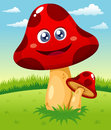 Happy cartoon red mushroom Stock Photo