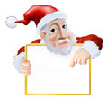 Happy cartoon Santa holding sign Stock Photos