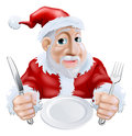 Happy cartoon Santa Ready for Christmas Dinner Stock Photos
