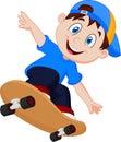 Happy Cartoon Skateboard Boy Royalty Free Stock Photo