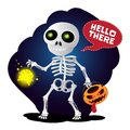 Happy cartoon skeleton walking with lantern and pumpkin head Royalty Free Stock Photo