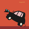Happy cartoon small car color illustration Stock Images