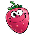 Happy cartoon strawberry character a pink smiling happily Royalty Free Stock Photography