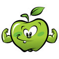 Happy cartoon strong green apple making a power gesture and smiling Stock Photography