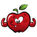 Happy cartoon strong red apple making a power gesture and smiling Royalty Free Stock Photos