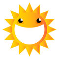 A happy cartoon sun with a huge smile in its face Stock Image