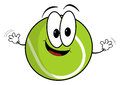 Happy cartoon tennis ball character illustration of a waving its hands isolated on white background Stock Photography