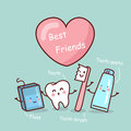 Happy cartoon tooth friend