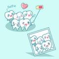 Happy cartoon tooth are selfie Royalty Free Stock Photo