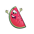 Happy cartoon watermelon character a smiling and waving its hands happily Royalty Free Stock Photography