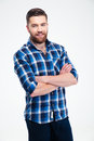 Happy casual man standing with arms folded Royalty Free Stock Photo