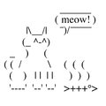 Happy cat ascii art line drawing Stock Photos