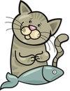 Happy cat with fish Stock Image