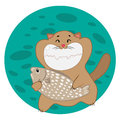 Happy cat holding a fish with vector illustration on white background Royalty Free Stock Photo