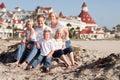 Happy Caucasian Family in Front of Hotel Del Coronado Royalty Free Stock Photo