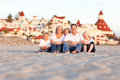 Happy Caucasian Family in Front of Hotel Del Coronado Royalty Free Stock Photo