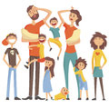 Happy Caucasian Family With Many Children Portrait With All The Kids And Babies And Tired Parents Colorful Illustration Royalty Free Stock Photo