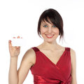 Happy caucasian woman with blank business card Royalty Free Stock Images