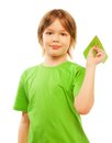 Happy caucasian years old boy in green shirt holding green paper plane isolated on white Stock Photo