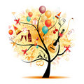 Happy celebration, funny tree with holiday symbols Royalty Free Stock Photos
