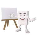 Happy character with blank easel Royalty Free Stock Images
