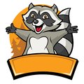 Happy cheerful raccoon cartoon character